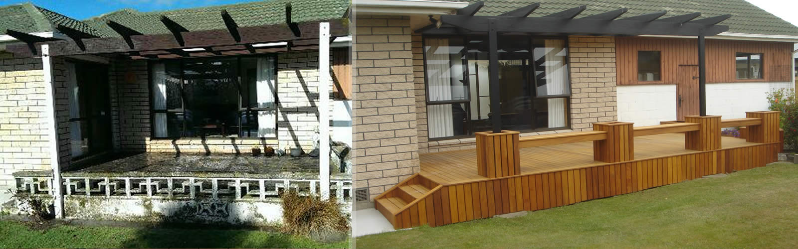 Before + After Garapa decking with Planters
