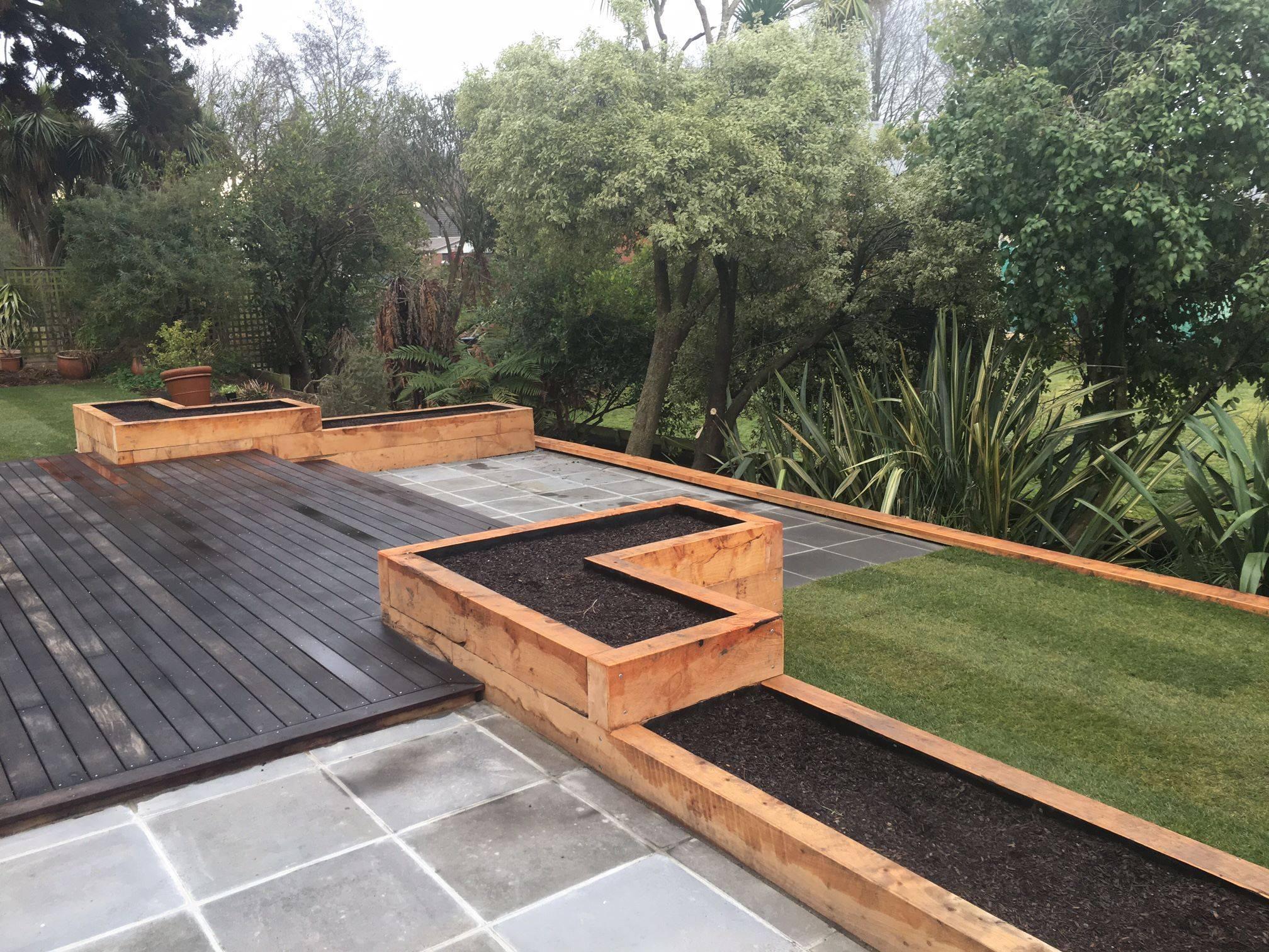 Macrocarpa Raised Garden Beds + Decking